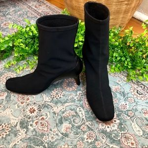 Unisa Black Sock Heeled Wide Round Toe Booties